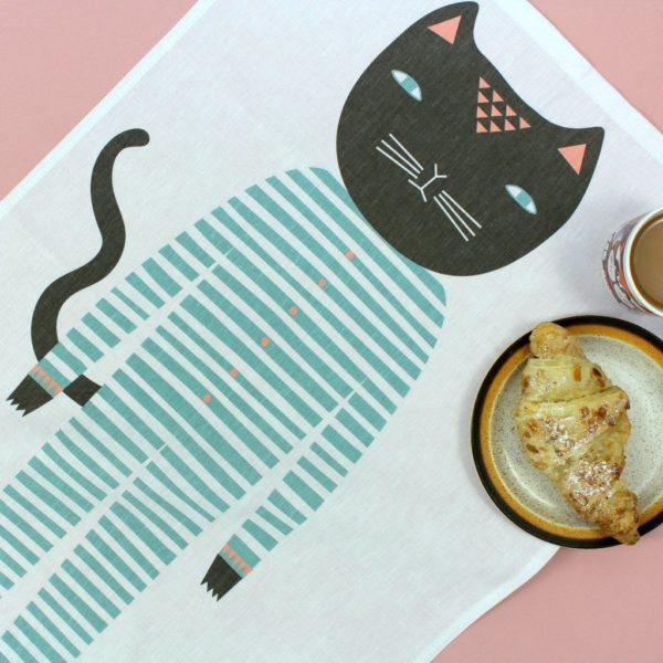 donna wilson, xcelsior, tea towel, lina dvielis, dvielis ar dizainu, kaķis