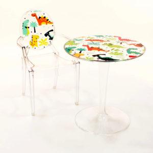 xcelsior, kartell, dāvana, bērnu mēbeles, bērnu galdiņš, dizaina galdiņš, caurspīdīgs galdiņš