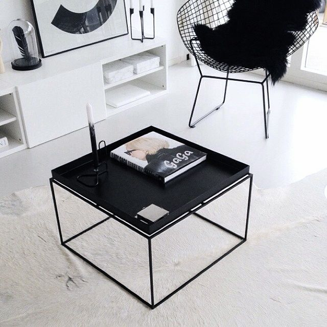 Shop Aira Black Square Coffee Table With Modern White Tray: Xcelsior Selection Online Store